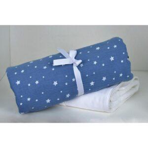 Πάνα Μουσελίνα Αγκαλιάς Muslin Blue 374 80x80 Baby Oliver